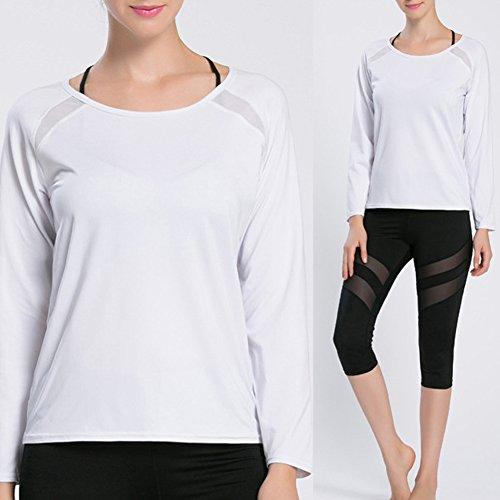 iBaste T-Shirt Dos ouvert Manches Longue Femme, Sport Fitness Running Yoga Danse Shirt pour Femmes Blanc