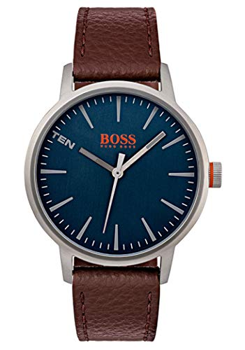 Hugo Boss Orange Herren-Armbanduhr Quarz mit Leder Armband 1550057 - Leder Boss Braun Hugo