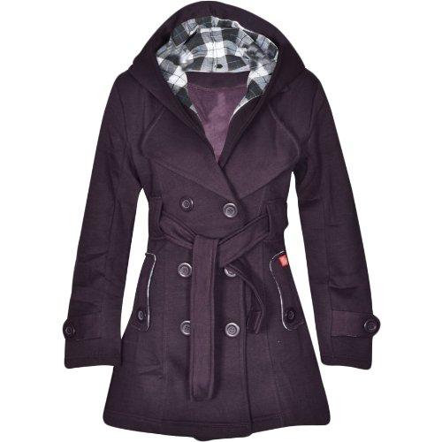 Flirty Wardrobe Veste à capuche avec boutons et ceinture Femme Violet - Violet