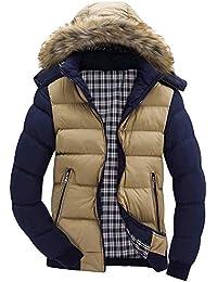 Cebbay Abrigo con Capucha de Hombre Chaqueta Collar de Piel de Bolsillo con Cremallera Casual otoño e Invierno cálido diseño Delgado Superior Cuero Artificial