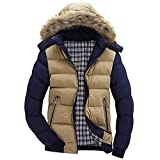 Yvelands Herren Jacke Mantel Top Bluse Casual Warm Mit Kapuze Winter Zipper Coat Outwear Jacke Top Bluse(EU-46/M,Khaki)