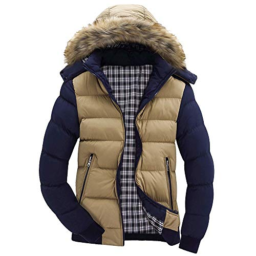 Yvelands Herren Jacke Mantel Top Bluse Casual Warm Mit Kapuze Winter Zipper Coat Outwear Jacke Top Bluse(EU-50/XL,Khaki)