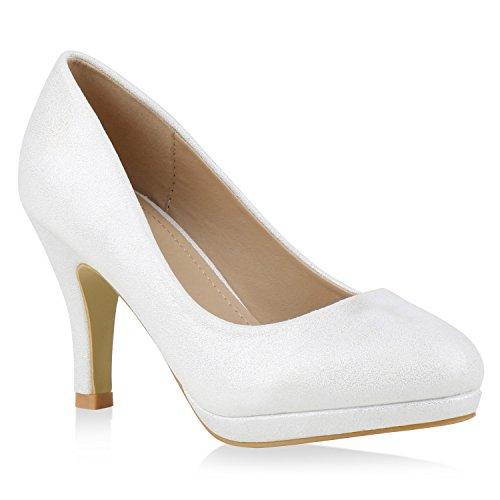 Damen Pumps Plateaupumps Stiletto High Heels Velours Peeptoes Leder-Optik Plateau Vorne Party Schuhe 131273 Weiss Total 39 Flandell