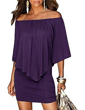 Juleya Mujeres Short Verano Vestir Vintage Asymmetrical Hem Elegant Off Shoulder Midi Vestir Cocktail Vestir Ball...