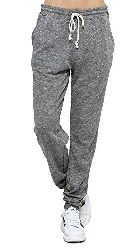 Jogging Femme Coton Sport Pantalon Gris en Maille Coton avec Cordon de Serrage Taille Haute Elastique (Gris, XXXL)