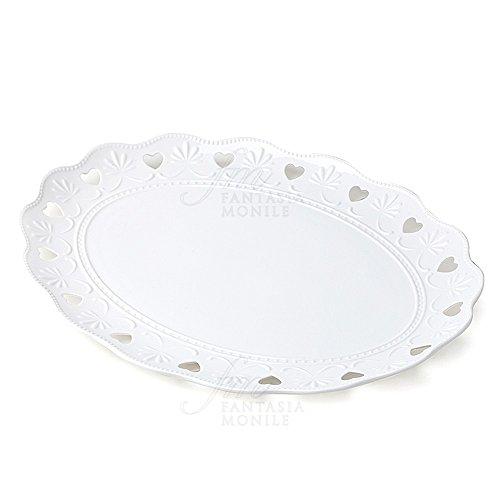 Tablett HERVIT Tafelaufsatz oval Porzellan weiß Dekor Herz Geschenk Hochzeit 26341. (Metall-schale Tafelaufsatz)