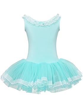 YiZYiF Kinder Mädchen Ballettkleid Ballettanzug Ballett Trikot Kleid Tanzkostüm mit Tüll Rock in Blau, Rosa, Weiß
