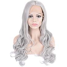 "Mufly 22"" Peluca Larga Mujer Pelo Ondulado Rizado Body Wave Disfraz Cosplay Disfraces Señora Fiesta Gris Wigs"