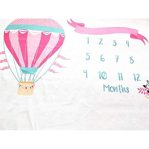 Baby Monatliche Decke Fotohintergrund-Decke Baby-Meilenstein-Decke romantische rosa Heißluft-Ballon-Art-Hintergrund-Stütze-monatliche Wachstums-Foto-Matten-Duschen-Geschenk-Wolldecken for Mädchen und