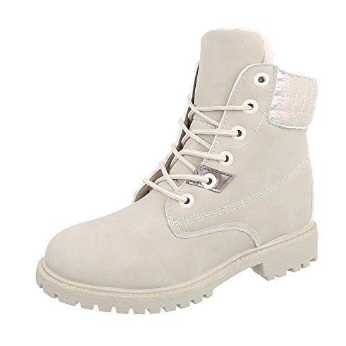 Chaussures femme Bottes et bottines Bloc Bottines a lacet Ital-Design beige AN-102