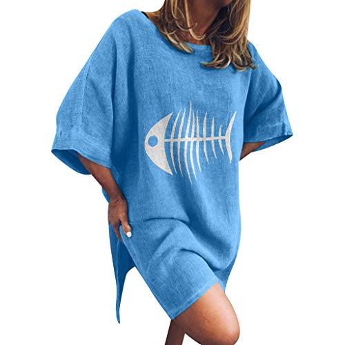 Beiläufige lose kurze Hülse der Frauen runder Kragen-Baumwollleinenbeiläufige Oberseiten-aufgeteilter Rand-lose Blusen-Muster-T-Shirts plus Größe über Knie-Längen-Hemd-Kleid-Minikleid