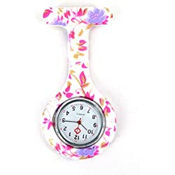TopDeals4You® Pink & Light Purple Flower Silicone Watch Nurse Doctor Paramedic Tunic Brooch Fob Watch Medical