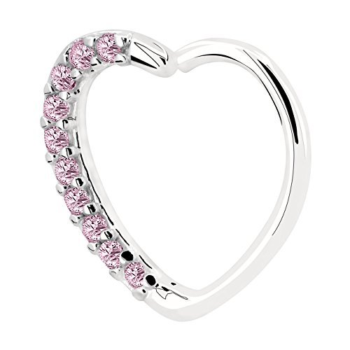 OUFER Piercing Jewelry Pier Stainless steel read pink gold Zircon transparent right clasp Cartilage earrings in the shape of a heart Daith Cartilage Tragus Helix Earrings Hoop (white pink)