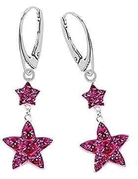 GH1a Pink Kristall Sterne Brisur Ohrringe 925 Echt Silber Mädchen Damen Ohrhänger