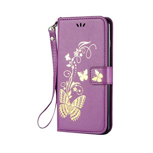 Tasche iPhone 7 Plus, iPhone 7 Plus Grün Leder Handyhülle, Moon mood® Ledertasche Brieftasche für iPhone 7 Plus(5.5 Zoll) ,PU Leder Hülle Wallet Case Folio Schutzhülle Schutz Schale mit Bronzing Schme Lila
