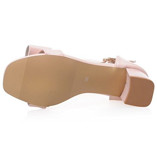 COOLCEPT Femmes Mode Cheville Sandales Orteil ouvert Bloc Chaussures With Bowknot Rose