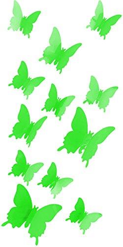 3D Schmetterlinge Blumen 12er Set Dekoration Wandtattoo (Basic (neon grün))