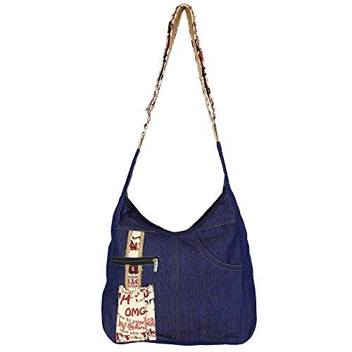 ShalinIndia Imprimé Denim College Bag, avec fermeture éclair Fermeture avec poche intérieure, starp réglable