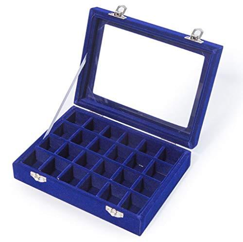 24 Slot Schmuckschatulle Schmuckkästchen Aufbewahrungsbox Lagerung Samt Glas Veranstalter Ringe Ohrringe Tray Display Aufbewahrungskoffer Für Ohrringe Halskette Schmuck Armbänder Veranstalter,Blue