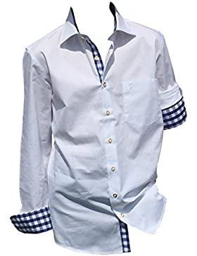 Trachtenhemden Trachten Hemden Herren Freizeithemden Businesshemden Weiß-Blau 100% Baumwolle