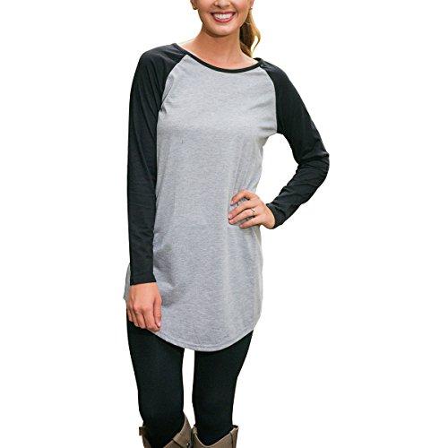 Damen Casual Rundhals Langarm T-shirt Frauen Lose Tops Grau