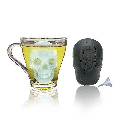 KOBWA Eiswürfelform, 3D Schädel Silikon Eiswuerfel Form Eiswürfelbereiter, BPA Frei Eiswuerfelbehaelter Ice Tray Ice Cube mit Trichter für Bier Cocktails Whisky Jedes Getränk