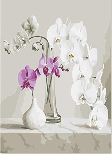 Ygghj dipingere con i numeri pittura artistica per numero di phalaenopsis vaso bottiglia di vetro petali bianchi in ceramica dipinti per numeri con olio (40x50cm)