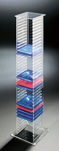 HOWE-Deko Hochwertiger Acryl-Glas CD Ständer/CD Regal/CD Aufbewahrung, klar, Außenmaße 20 x 20 cm, H 101 cm, Acryl-Stärke 6/4 mm