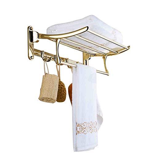 Regale Hardware (BAIHOME Falten Edelstahl Handtuchhalter Bad Regal Handtuchstange Hardware Wandbehang Gewebe auf die Toilette Badezimmer Zubehör,Gold)