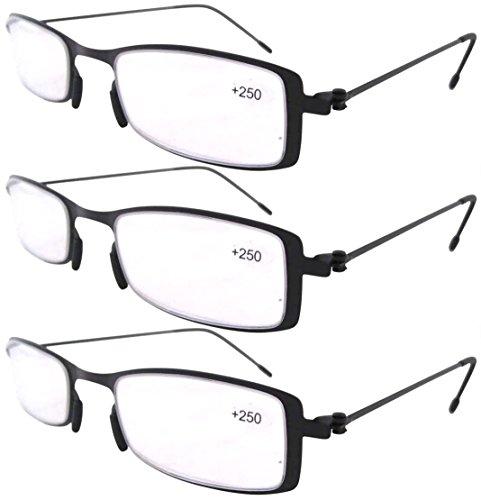 Confezione da 3 paia Telaio in acciaio inox occhiali da lettura per Uomo e  Donna