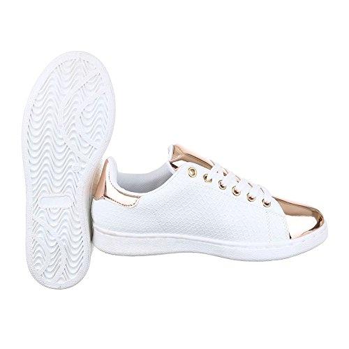 Damenschuhe Weiß Freizeitschuhe Schnürsenkel Sneaker Bronze Sneakers design Ital Low top q6xU8nEA8