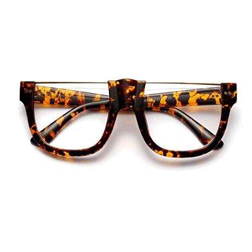 Makefortune Frauen Sonnenbrillen, Mode Sonnenbrille Gespiegelte Linse Vintage Student Große Box Designer Mode Klarglas Sonnenbrille (A)