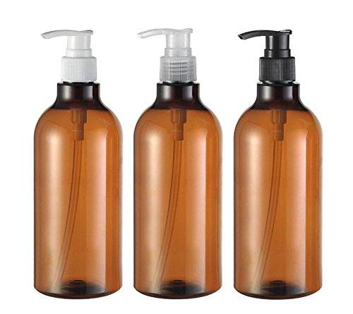 3 Pcs 500 ml/481,9 gram Plastique Marron Flacon Pompe rond avec Blanc/noir/clair Pompe du Cosmétique de bain douche Shampooing Hair-conditioner liquide de stockage de conteneurs