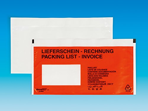 4000 ORIGINAL!!! docuFIX LD classic 3-Rand Lieferscheintaschen, Rechnungstaschen Fenster Links, 13 - sprachig bedruckt, 24x11,5 cm, selbstklebende Dokumententaschen - 4.000 Stück