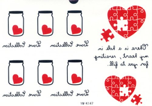 SPESTYLE new release fashionable hot selling tattoo stickers red heart jigsaw,white bottle with red hearts