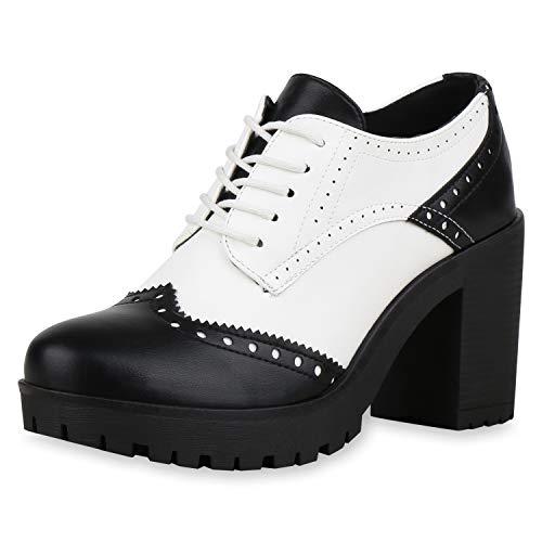 kle Boots Stiefeletten Blockabsatz Schuhe Leder-Optik Wingtip Halbschuhe Schnürer Schnürschuhe 181209 Schwarz Weiss 39 ()