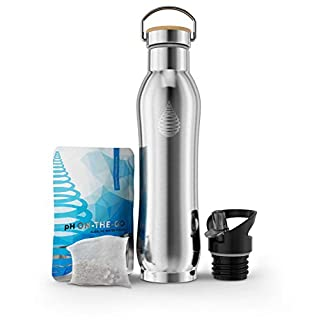 pH Active Insulated Water Bottle - Filtered Alkaline Water Bottle - Stainless Steel Water Bottle - Includes Alkaline Water Filter, Plus Bonus Sports Gym Lid - Double Walled Metal New 2019 Model 650ml