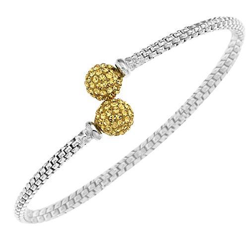 Ornami Glamour Halskette Sterling Silber Cross Over-Armreif mit Kristall-Perlen, Gelb (Crystal Wire Armreif)