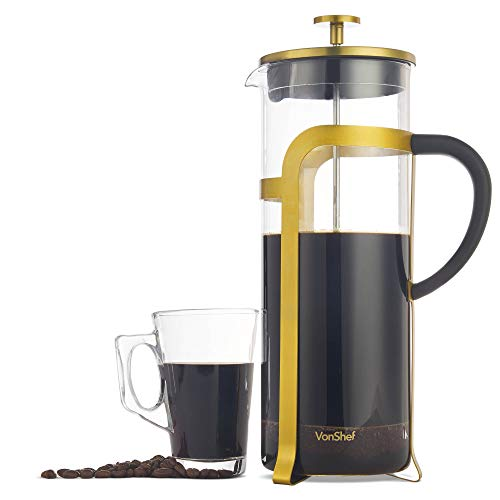 VonShef French Press Cafetière Kupfer/Gold Edelstahl Glas – 8 Tassen / 1 Liter Kaffeemaschine