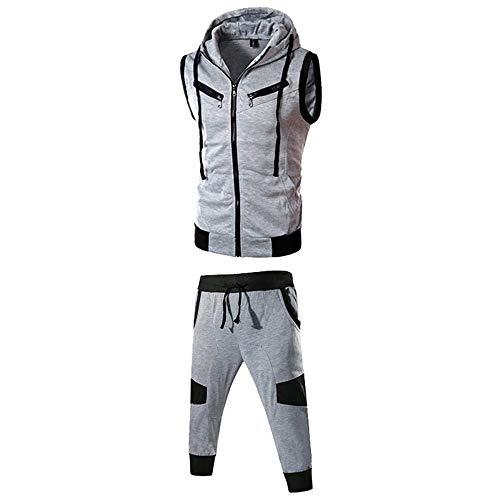 Slinky Herren Shorts (MRULIC Herren Sportanzug Kapuzenpullover Order Hosen Pure Color ärmelloses Tops Sweatshirt Weste Mit Kapuze und Sporthosen(Anzug:Grau,EU-40/CN-M))