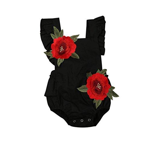 YunYoud Neugeborener Overall Kleinkind Baby-Sonnenuntergang Mädchen Kleidung Blume Backless Spielanzug (90, Schwarz)