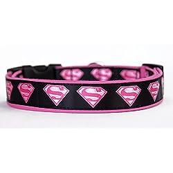 SuperGirl Pink Superman Collar Perro Hecho A Mano Talla M HandMade Dog Collar