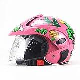 DTVX Casco Moto per Bambini Stile retrò, metà Aperto, con Linea di Cavallo, Adatto per i Bambini di età Compresa tra 3-7, Tutto Il codice (48-54cm),Pink