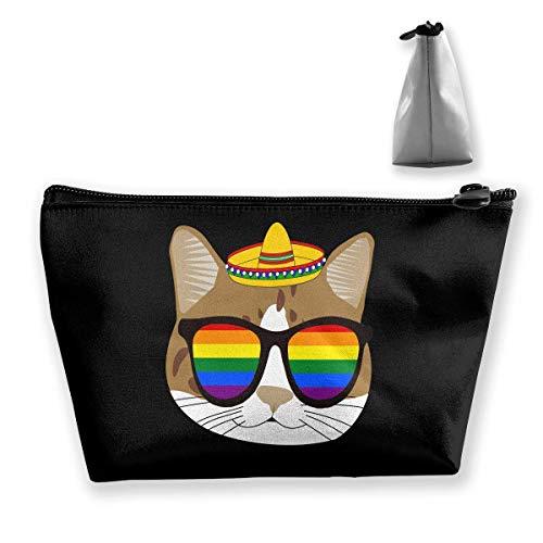 Mexiko süße Katze mit Homosexuell Stolz Sonnenbrille Make-up Tasche Kulturbeutel Reise Kosmetiktaschen Beutel