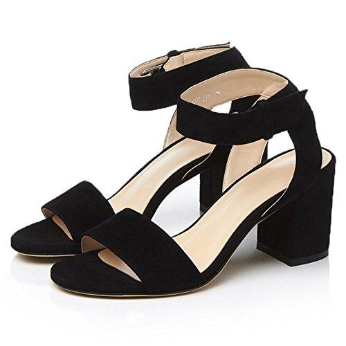 COOLCEPT Femmes Mode Cheville Sandales Orteil ouvert Bloc Chaussures Noir