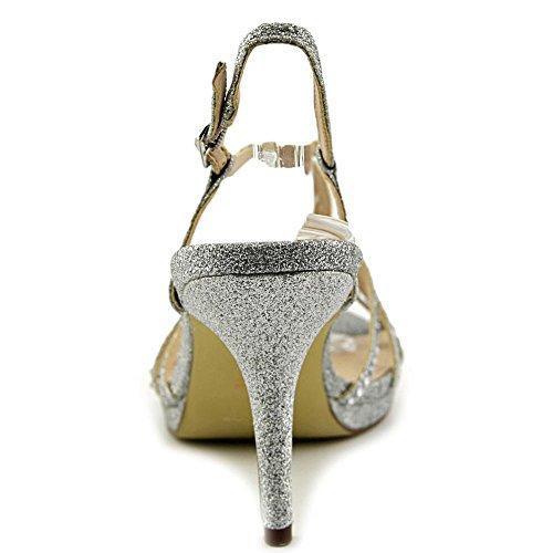 Nina Blake Offener Spitze Synthetik Stöckelschuhe Silver Baby Glitter
