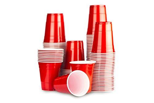 Gobelet Rouge Américain 100 x Red Cups - Party Beer Pong Original 50cl - Grand jetables Verres en plastique 16oz - Plusieurs couleurs | College & anniversaire tasses - Red Celebration