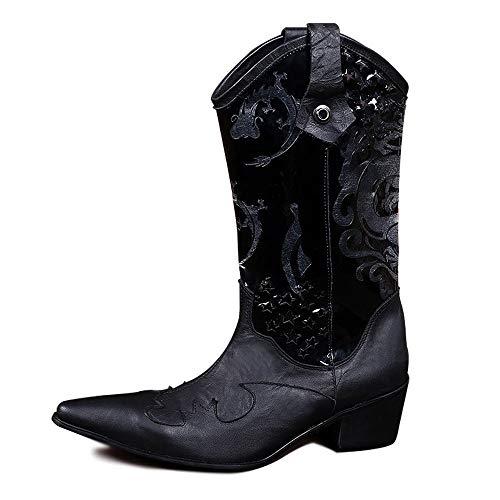 te Für Mann Hohe Westliche Stiefel Zum Anziehen Stil OX Leder Prägung Strass Dekor Seitlicher Reißverschluss Spitz Nachtclub (Color : Schwarz, Größe : 39 EU) ()