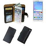 K-S-Trade Für Huawei Y6 (2018) Dual-SIM Portemonnaie Schutz Hülle schwarz aus Kunstleder Walletcase Smartphone Tasche für Huawei Y6 (2018) Dual-SIM - vollwertige Geldbörse mit Handyschutz