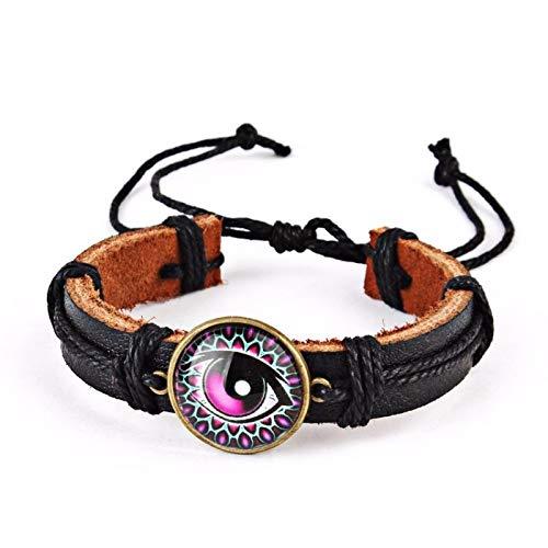 Unbekannt Halloween Einfaches Retro-Set Armband, Gewebtes Leder Auge Hanfseil Lederarmband,Schwarzes D,Einheitsgröße Jewelry